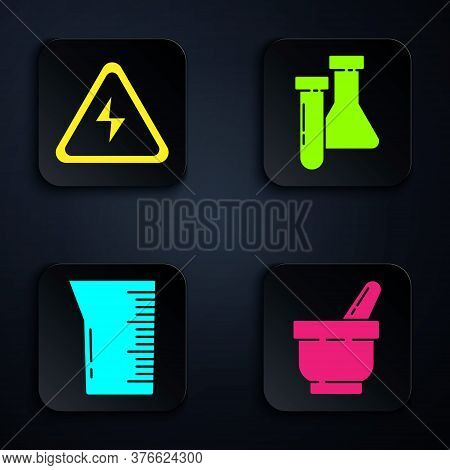 Set Mortar And Pestle, High Voltage Sign, Laboratory Glassware Or Beaker And Test Tube And Flask Che