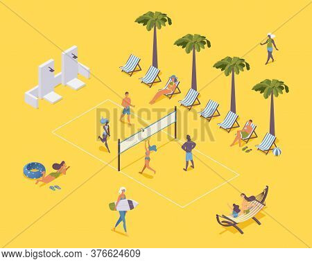 Isometric Beach Volleyball With Players And Spectators On Sunbeds