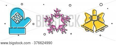 Set Christmas Mitten, Snowflake And Merry Christmas Ringing Bell Icon. Vector