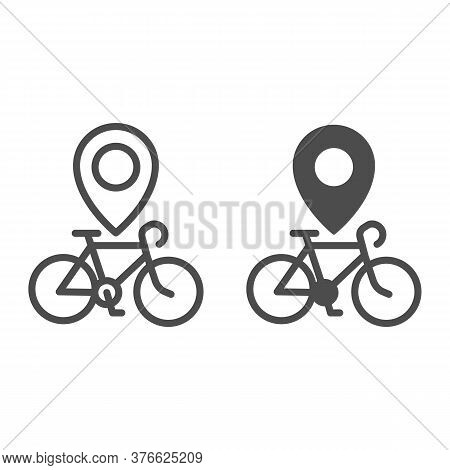 Bike Location Line And Solid Icon, Bicycle Concept, Map Pointer With Bicycle Sign On White Backgroun