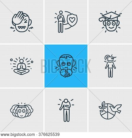 Illustration Of 9 Emoji Icons Line Style. Editable Set Of Learning, Think Outside Box, Personality A
