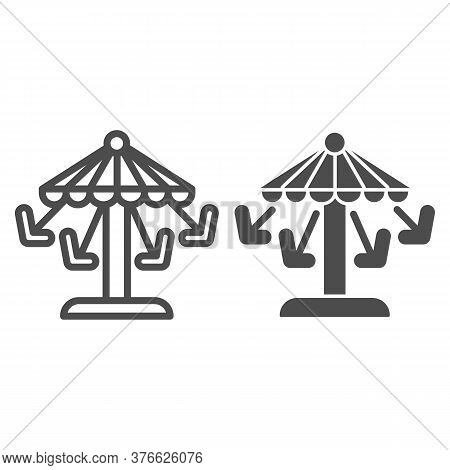 Carousel Line And Solid Icon, Amusement Park Concept, Amusement Ride With Seats Sign On White Backgr