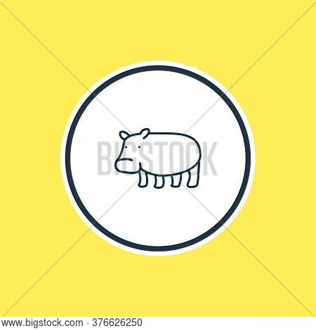 Illustration Of Hippo Icon Line. Beautiful Zoology Element Also Can Be Used As Hippopotamus Icon Ele