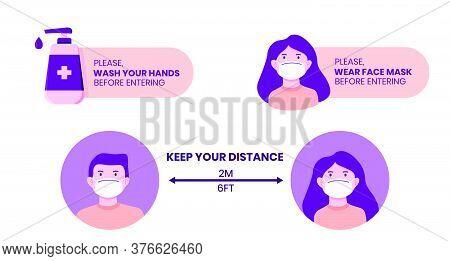 Virus Protection Instructional Sign. Set Of 3 Illustration For Virus Prevention Tips, Washing Hands,