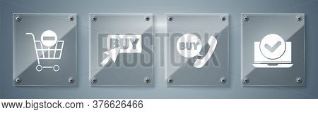 Set Laptop, Phone And Speech Bubble With Buy, Buy Button And Remove Shopping Cart. Square Glass Pane