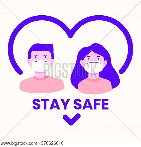 Flat Style Of Man And Woman Wearing Medical Mask To Prevent Disease, Flu, Pollution. Stay Safe, Wear