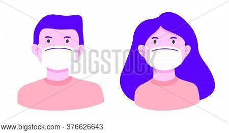 Man And Woman Wearing Medical Mask To Prevent Disease, Flu, Pollution In Flat Style Illustration. St