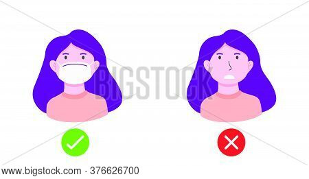 No Entry Without Face Mask Or Wear Mask Icon. Vector Illustration Of Yes No Sign With Woman Wearing
