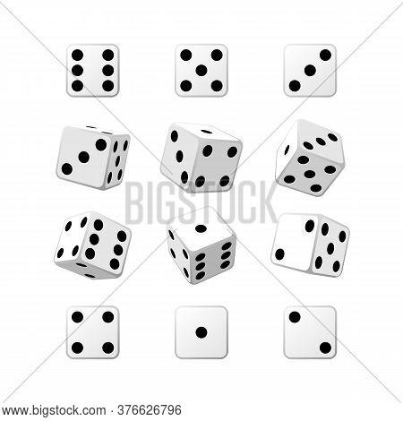 Dice Set White Casino Cubes Isometric Vector Illustration