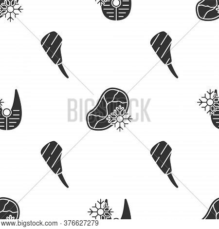 Set Fresh Frozen Fish Steak, Fresh Frozen Steak Meat And Rib Eye Steak On Seamless Pattern. Vector