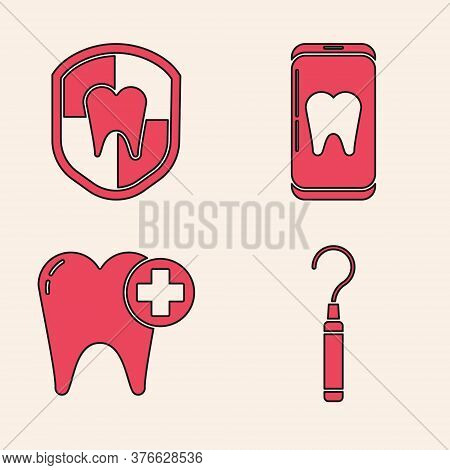 Set Dental Explorer Scaler For Teeth, Dental Protection, Online Dental Care And Tooth Icon. Vector