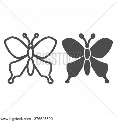 Butterfly Line And Solid Icon, Insects Concept, Beautiful Flying Insect Sign On White Background, Bu
