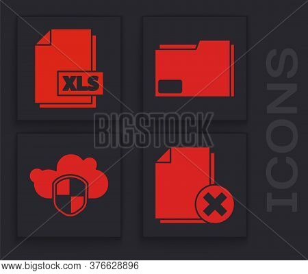 Set Delete File Document, Xls File Document, Document Folder And Cloud And Shield Icon. Vector