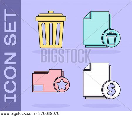Set Finance Document, Trash Can, Document Folder With Star And Delete File Document Icon. Vector