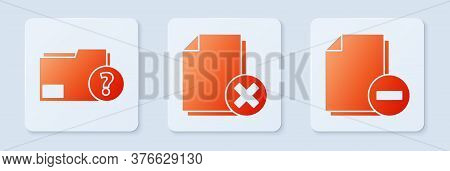 Set Delete File Document, Unknown Document Folder And Document With Minus. White Square Button. Vect