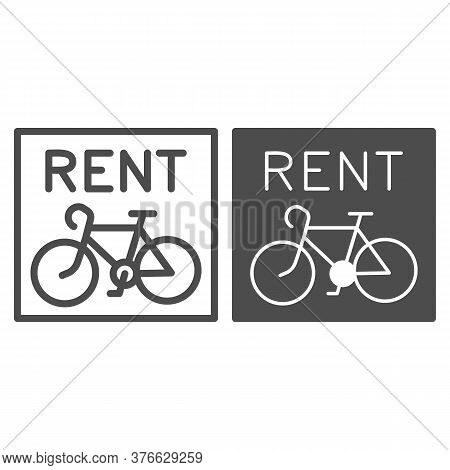 Bike Rental Signboard Line And Solid Icon, Outdoor Sport Concept, Bicycle Logo For Shop Or Rental Bu
