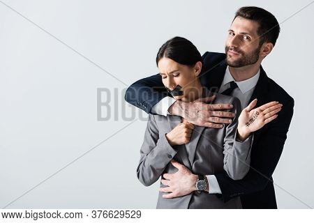 Businessman Molesting Businesswoman With Scotch Tape On Mouth Showing Hand With Me Too Lettering Iso