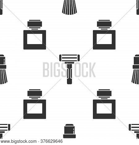 Set Shaving Brush, Shaving Razor And Aftershave On Seamless Pattern. Vector