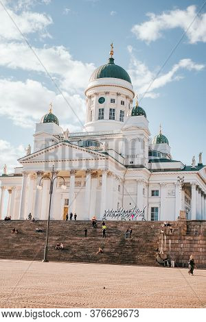 Helsinki, Finland - July 1, 2019: Helsinki Cathedral Also Known As The White Cathedral Is The Finnis