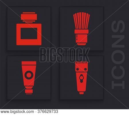 Set Electrical Hair Clipper Or Shaver, Aftershave, Shaving Brush And Cream Or Lotion Cosmetic Tube I