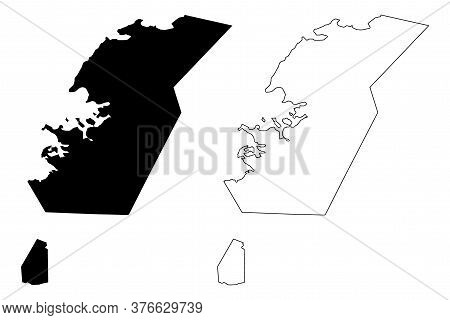 Capital Region (iceland Island, Regions Of Iceland) Map Vector Illustration, Scribble Sketch Greater
