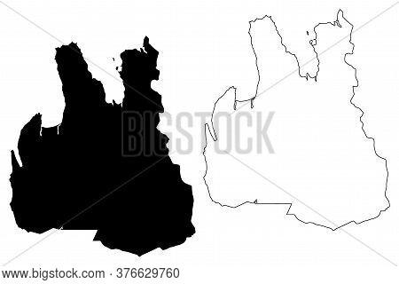 Northwestern Region (iceland Island, Regions Of Iceland) Map Vector Illustration, Scribble Sketch No