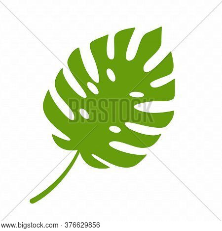 Monsterra Leaf Logo Isolated On White Background.