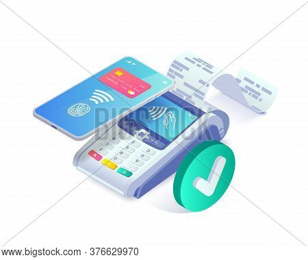 Isometric Shopping, Successful Contactless Payments Via Smartphone Approved Concept. 3d Payment Term