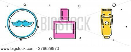 Set Mustache, Aftershave And Electrical Hair Clipper Or Shaver Icon. Vector