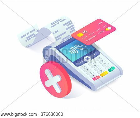 Isometric Shopping, Error Contactless Payments Via Smartphone Concept. 3d Payment Terminal With Red
