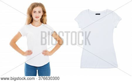 Girl White Tshirt Mock Up, Empty T-shirt Closeup, Summer Tshirt Over White Background, Woman T Shirt