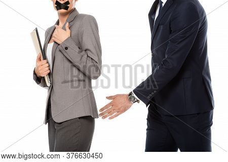 Cropped View Of Businessman In Formal Wear Molesting Businesswoman With Scotch Tape On Mouth Isolate