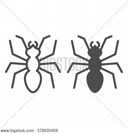 Ant Line And Solid Icon, Insects Concept, Emmet Sign On White Background, Ant Silhouette Icon In Out