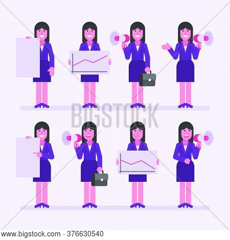 Business Woman Brunette Holds Megaphone Sign And Various Objects. Character Set