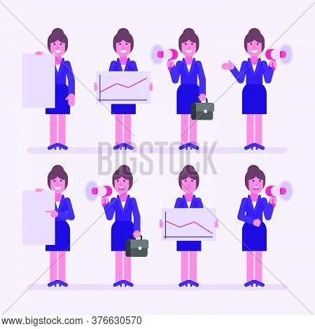 Business Woman Holds Megaphone Sign And Various Objects. Character Set