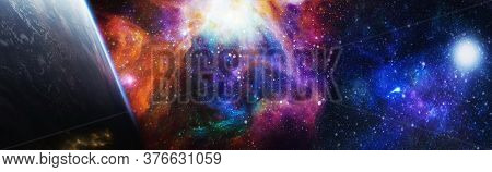 Beautiful Night Sky, Star In Space. Collage On Space, Science And Educational Subjects. Elements Of