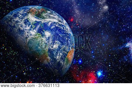 Planet Earth From Space Orbital View, Our Planet From The Orbit. This Image Elements Furnished By Na