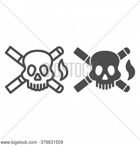 Skull And Two Cigarettes Line And Solid Icon, Smoking Concept, Cross Sign Of Cigarette With Skull On