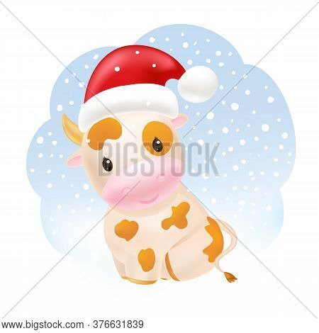Cute Cow In Santa Hat, Awesome Little Bull Sitting. 2021 Chinese Symbol. Soft Pastel Colours. Cartoo