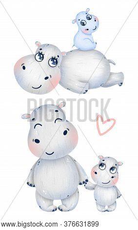 Cute Cartoon Hippo Family Set On A White Background