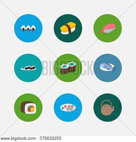 Nutrition Icons Set. Sake Nigiri And Nutrition Icons With Teapot, Kappa Maki And Sushi Roll. Set Of