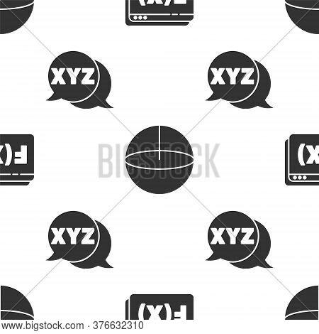 Set Function Mathematical Symbol, Geometric Figure Sphere And Xyz Coordinate System On Seamless Patt