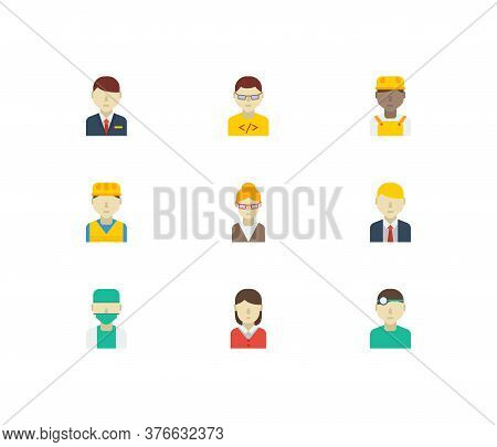 Occupation Icons Set. Hotel Receptionist And Occupation Icons With African Worker, Doctor And Teache