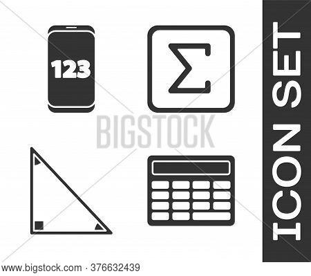 Set Calculator, Mobile Calculator Interface, Triangle Math And Sigma Symbol Icon. Vector