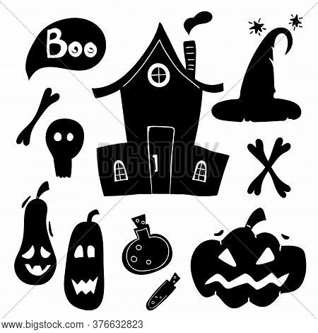 Halloween Silhouettes. Horror Holiday Icons Collection Potion And Pumpkin, Witch Magic House And Hat