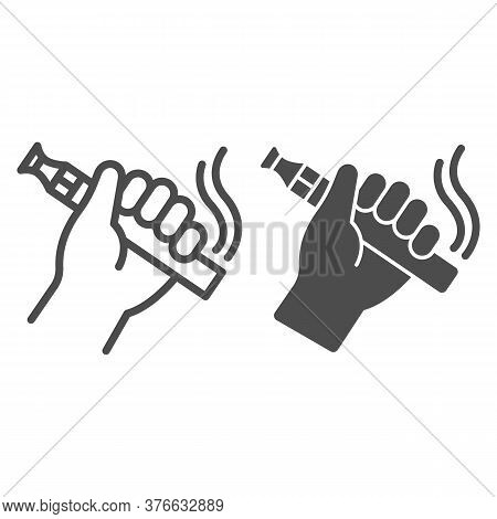 Hand With Vape Line And Solid Icon, Smoking Concept, Vape Device In Hand Sign On White Background, V