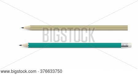 Two Wooden Pencil With Graphite Leads, One With A Rubber Or Eraser On The End, Colored Vector Illust