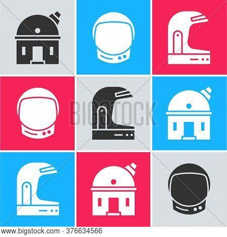 Set Astronomical Observatory, Astronaut Helmet And Astronaut Helmet Icon. Vector