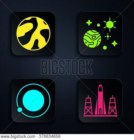 Set Rocket Launch From The Spaceport, Planet, Satellites Orbiting The Planet Earth And Space And Pla