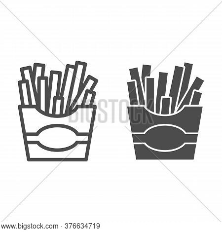 French Fries Line And Solid Icon, Junk Food Concept, Potatoes Fries In Paper Bag Sign On White Backg
